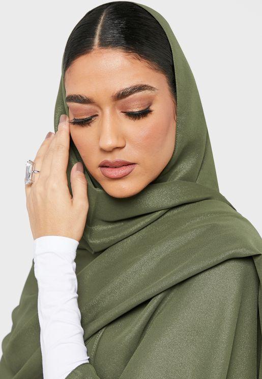 حجاب مجعد مزين بجليتر