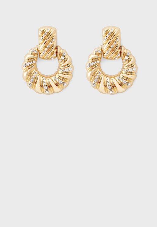 Twist Pave Doorknocker Drop Earring