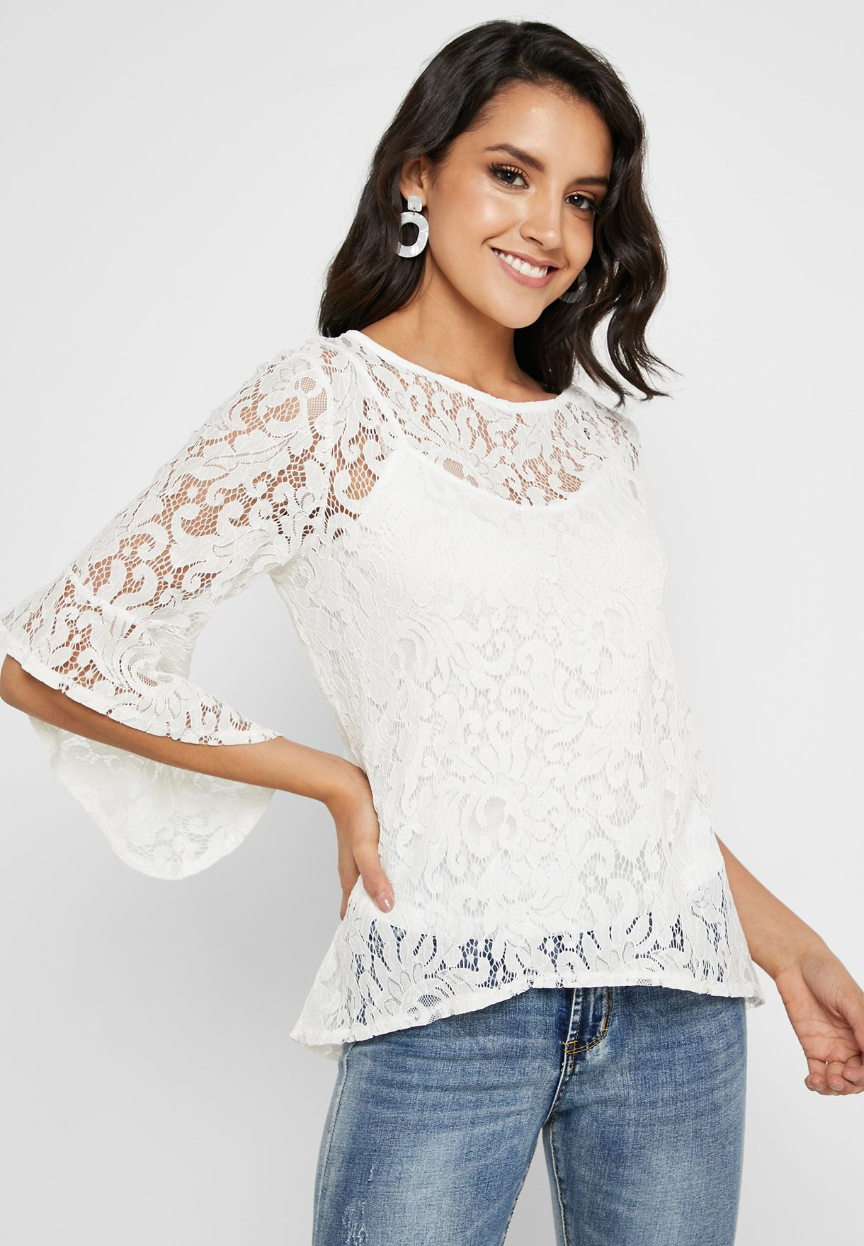 4be7a1be14e Shop Quiz white Crochet Lace Detail Top 100019022 for Women in ...