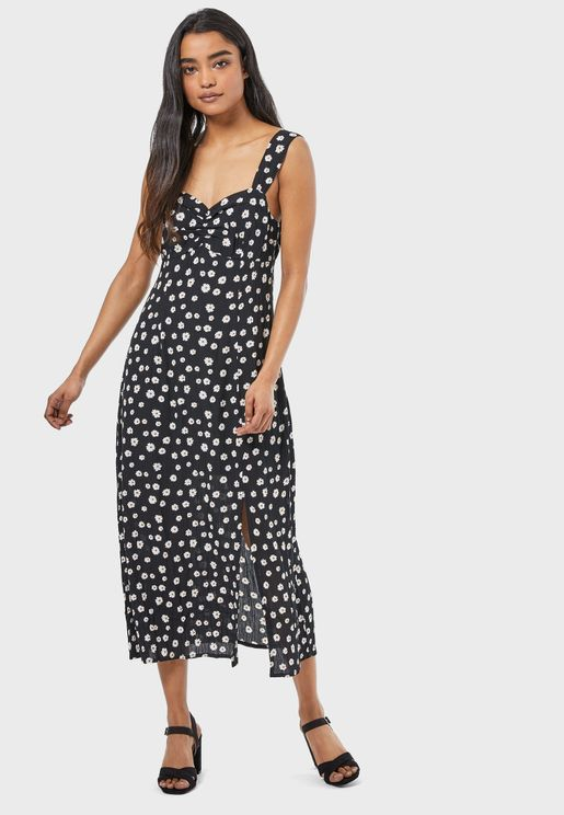 Printed Wide Strap Dress