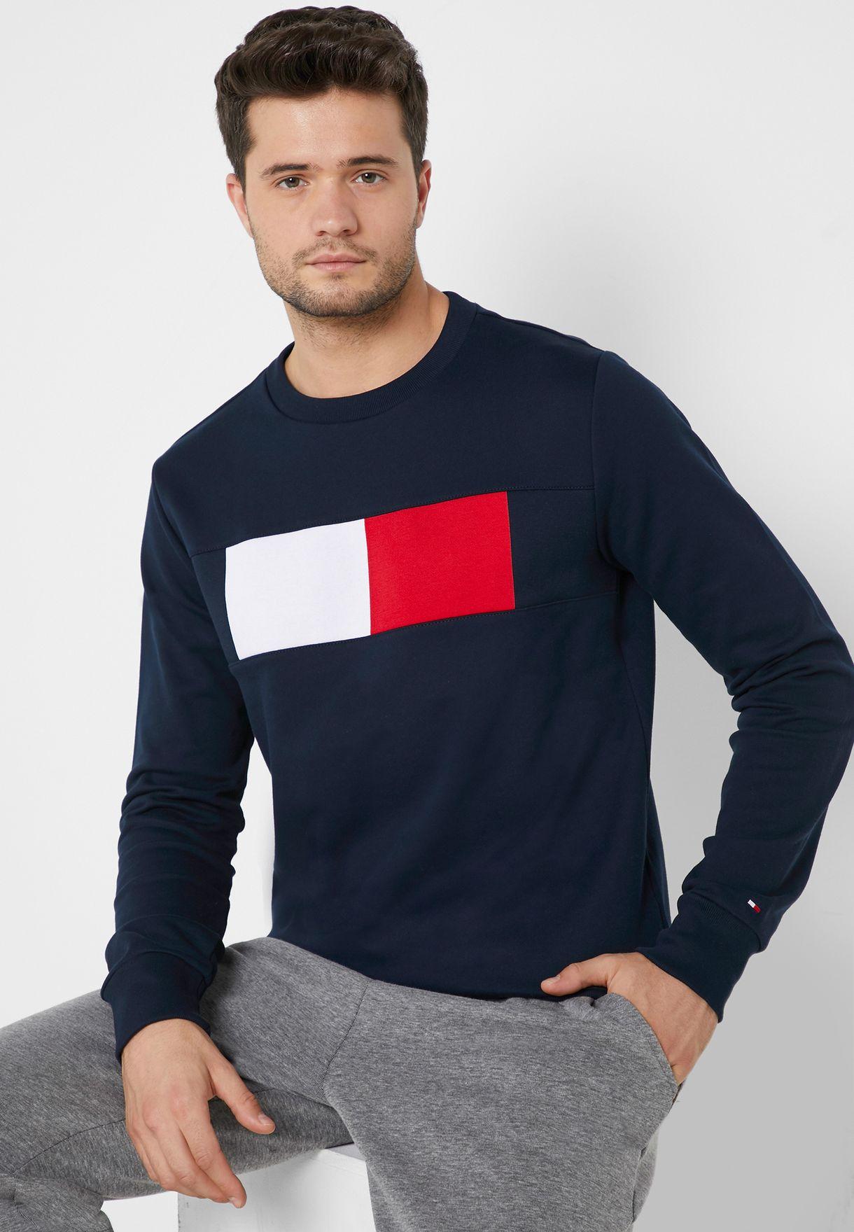 9534910f Shop Tommy Hilfiger navy Chest Logo Flag Sweatshirt MW0MW09713 for ...