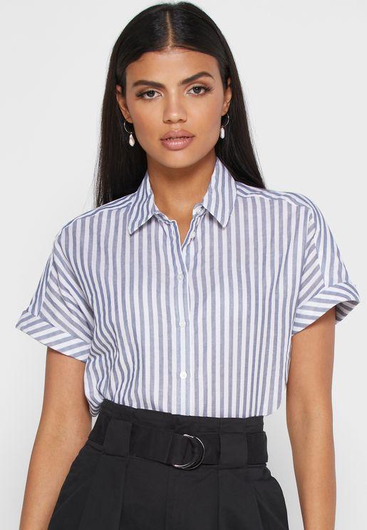 Knot Detail Striped Crop Shirt
