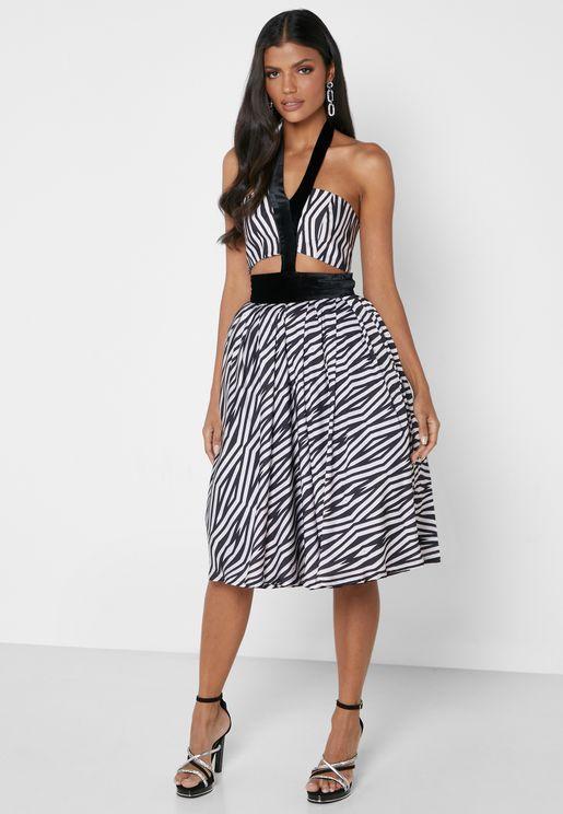 Cut Out Printed Midi Dress