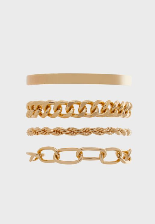 Pack Of 4 Mixed Chain Bracelets