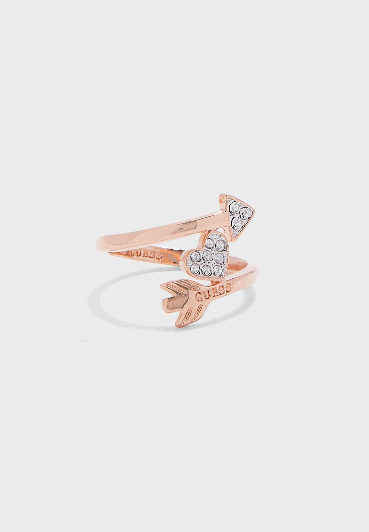 Arrow Pave Heart Double Ring