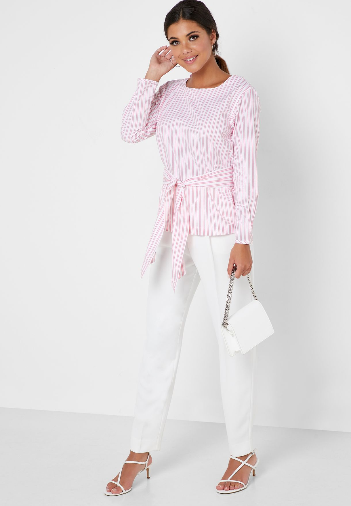 Tie Waist Striped Top