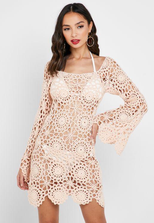 Boat Neck Crochet Dress