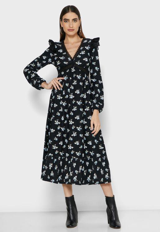 Printed Pephem Dress