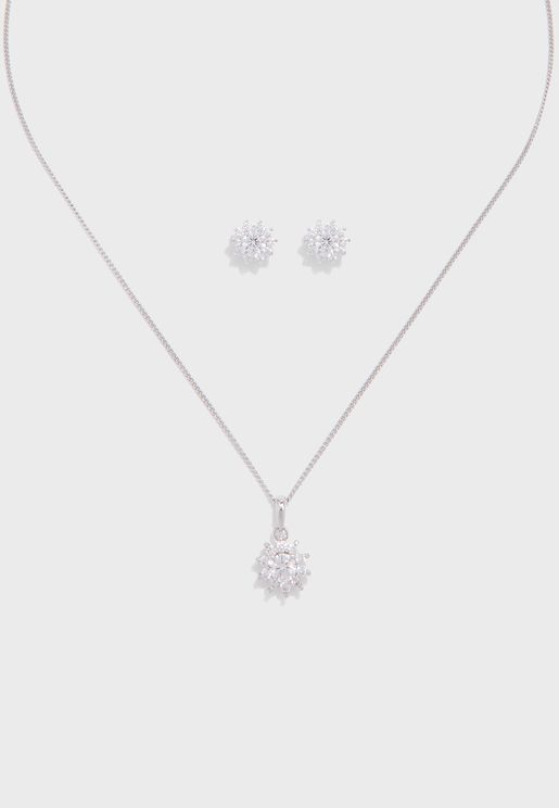 Starburst Stud Earrings+Pendant Necklace Set