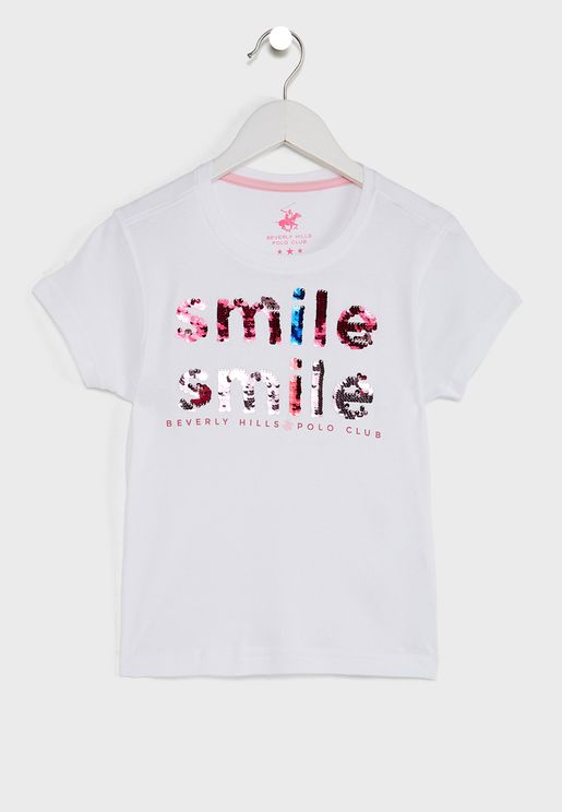 Kids Sequined Smile Again T-Shirt
