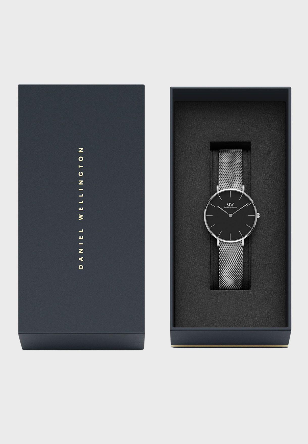 Petite Sterling Silver Black 32mm Watch
