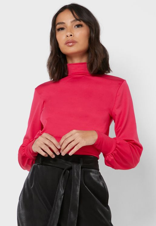 Cut Out Back Ruched Detail Cuffed Top