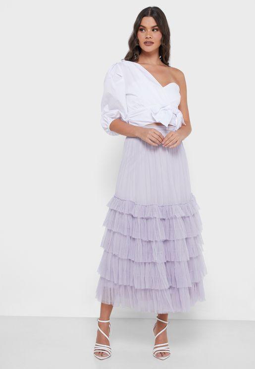Gloria Layered Midi Skirt