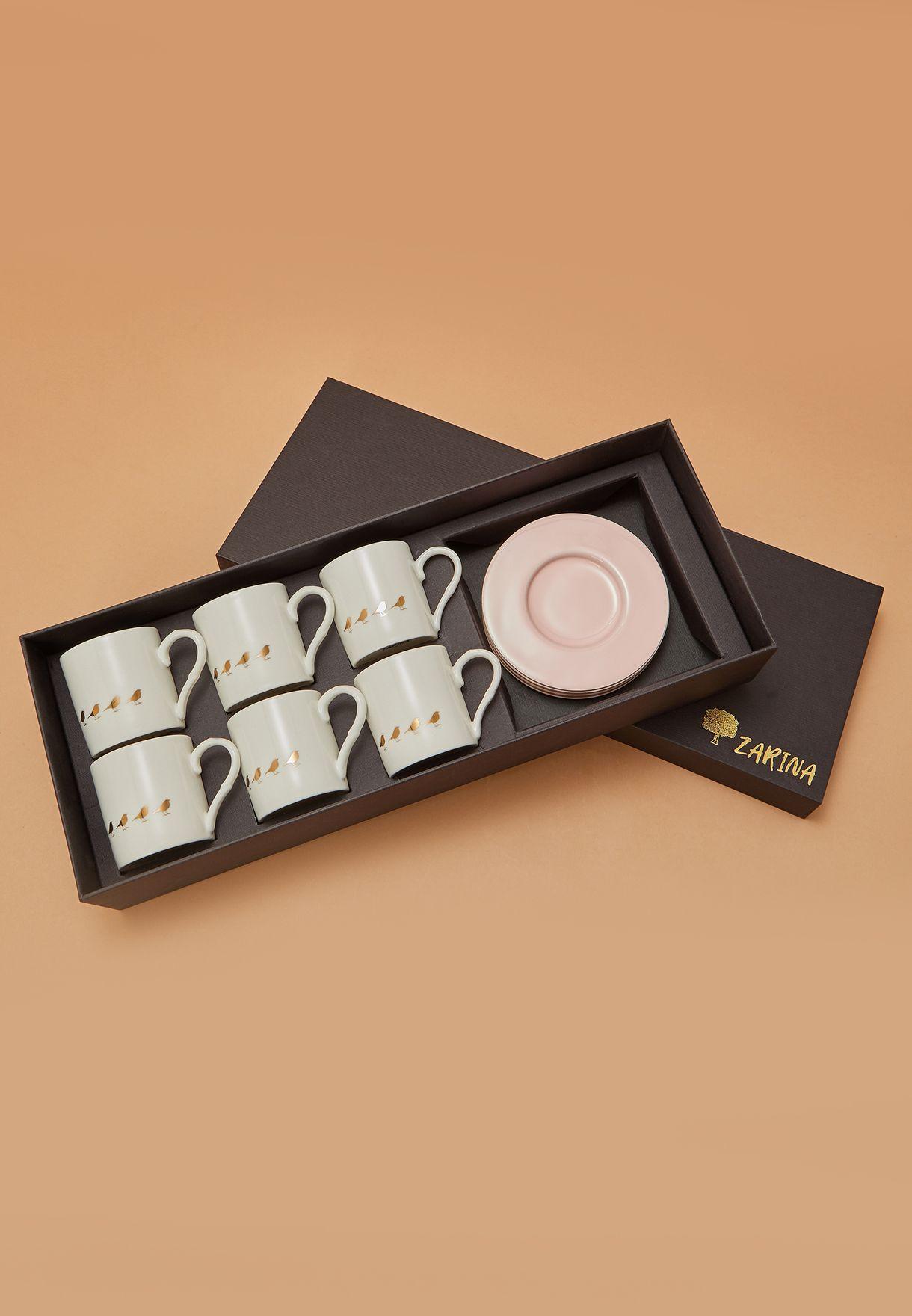 طقم قهوة من 6 فناجين وصحون