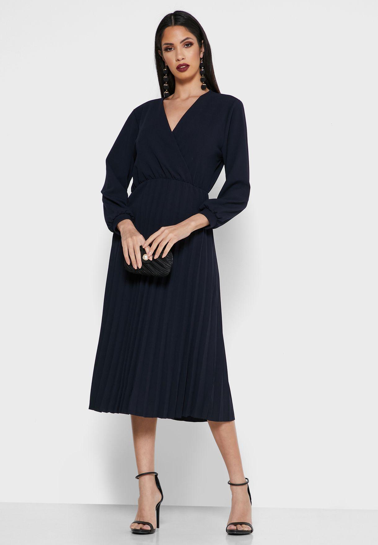 Khizana Wrap Front Pleated Skirt Midi Dress - Women Clothing ByyxC
