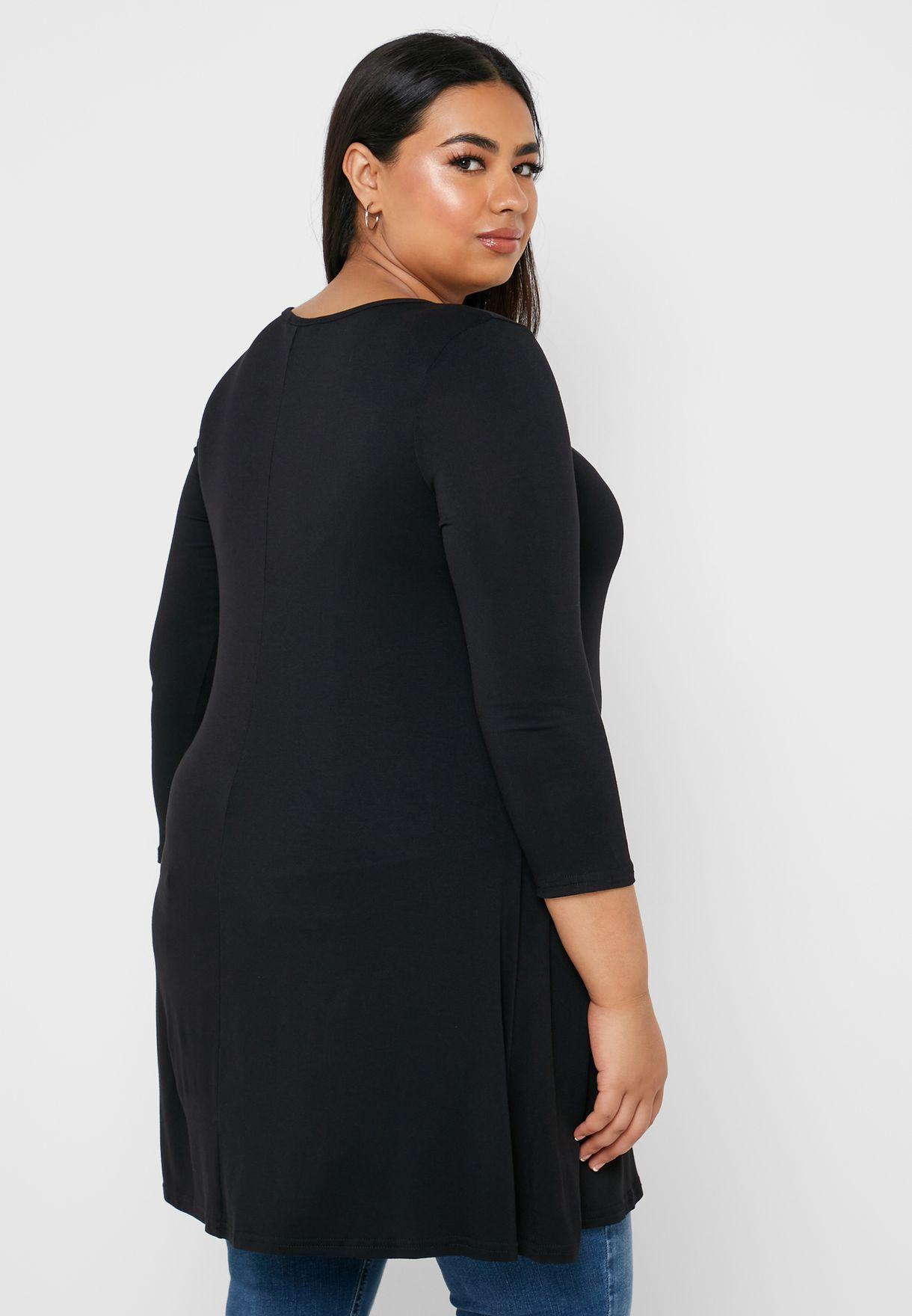 Buy Evans Black Crew Neck Longline Top For Women, Uae 18808at44wgp