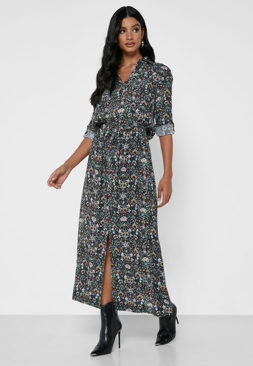 Radial Ruched Waist Printed Shirt Dress