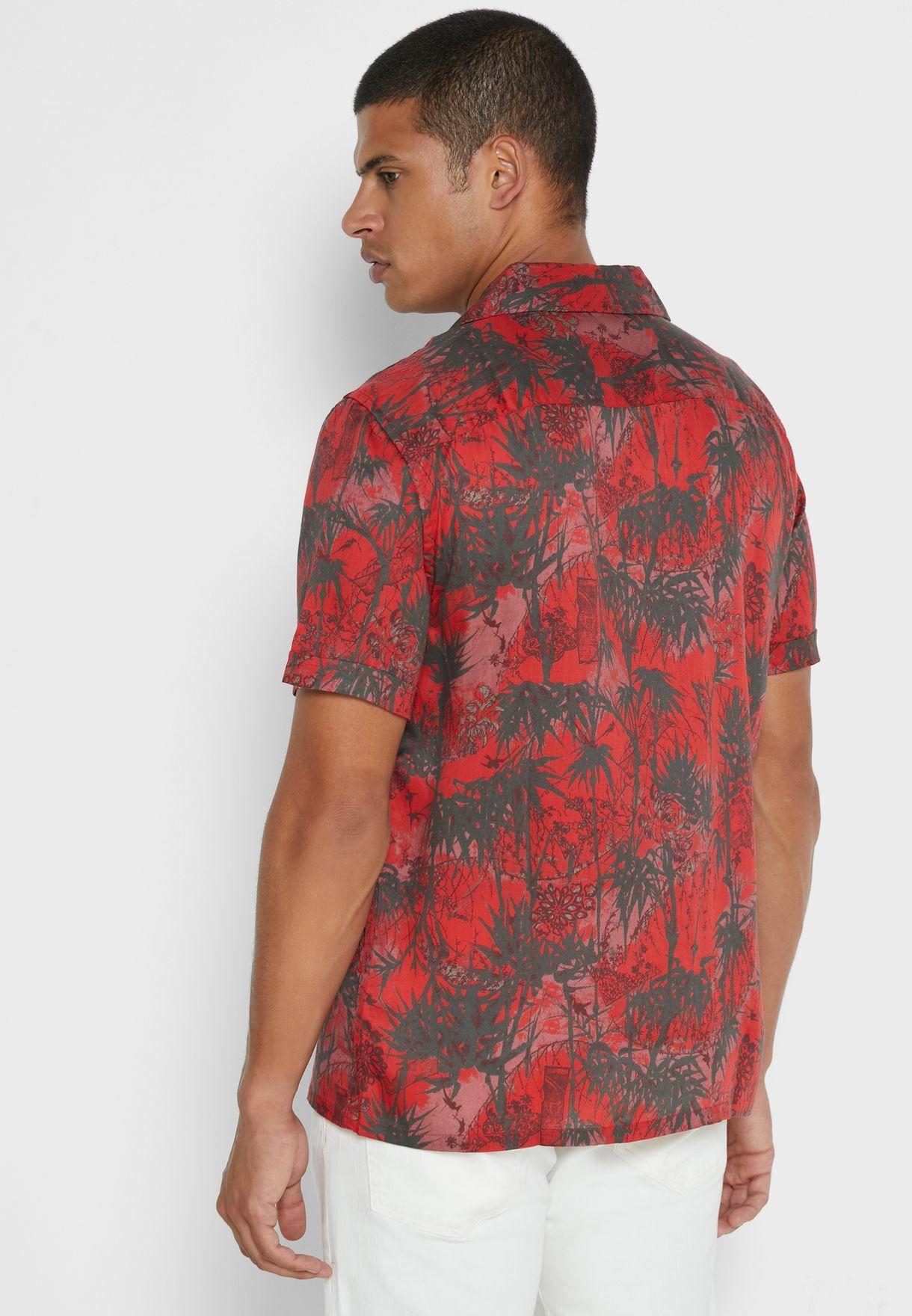 Palm Tree Print Regular Fit Shirt