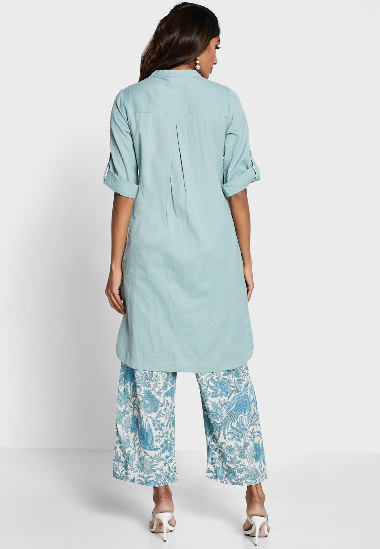 Embroidered 3/4 Sleeve Kurti With Printed Pants