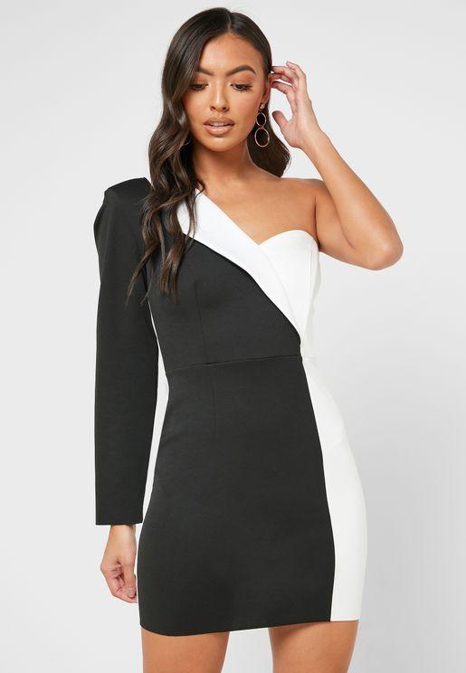 Colorblock One Sleeve Dress
