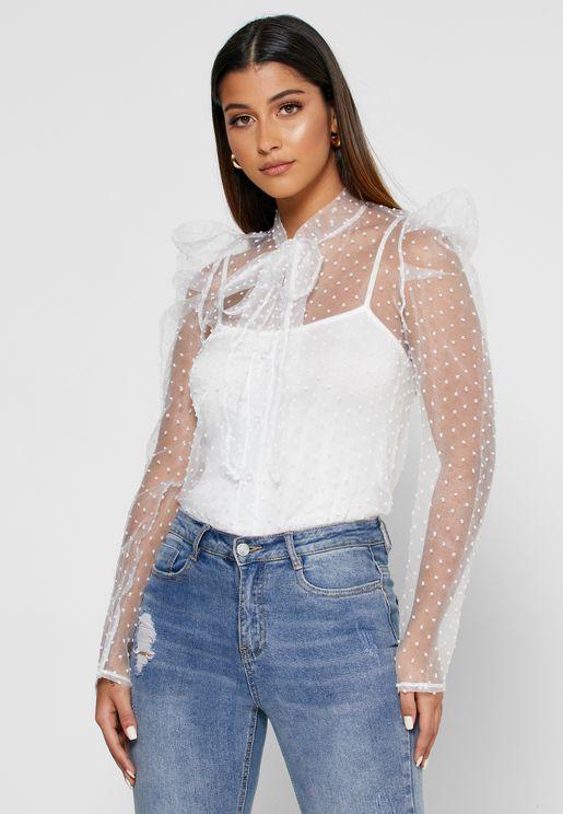 قميص شبك بكشكش واربطة مع طبعات نقاط بولكا