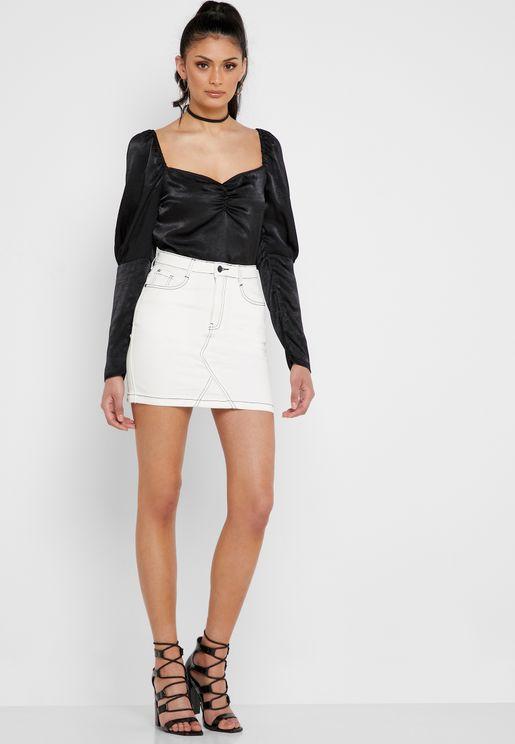 Contrast Stitch Denim Skirt