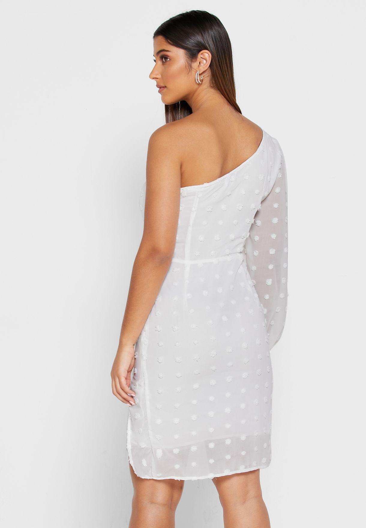 Dotted One Shoulder Mini Dress