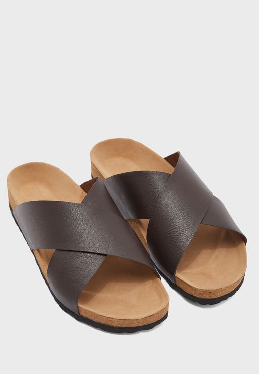 Arch Support Cross Strap Sandals