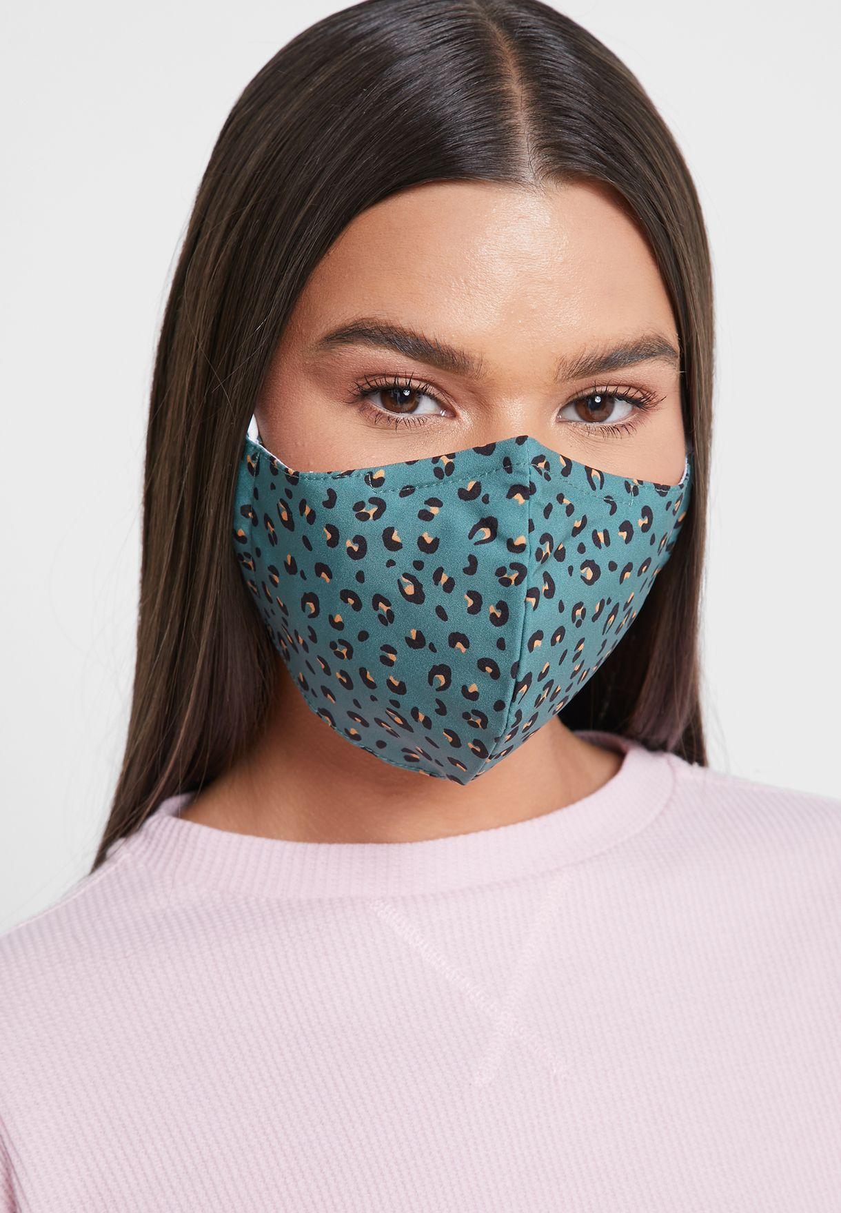 Khaki Leopard Face Covering Mask