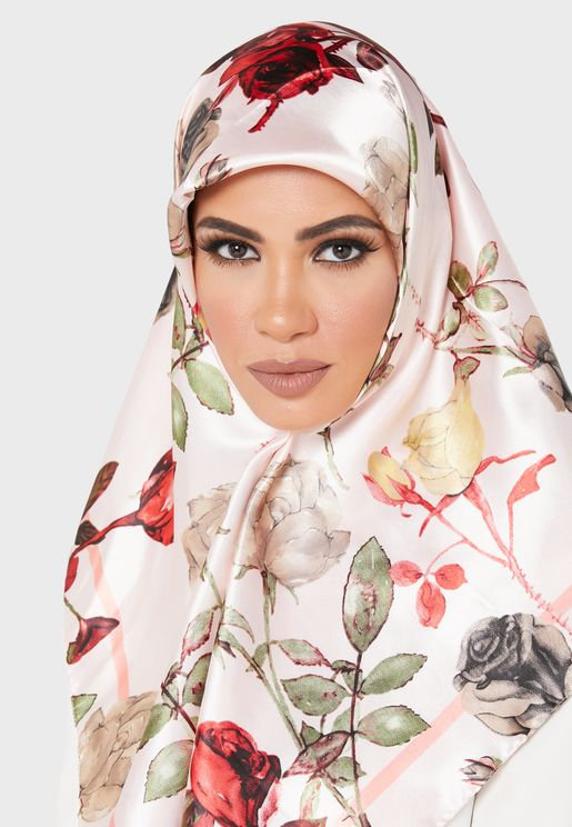 Rose Print Satin Square Headscarf