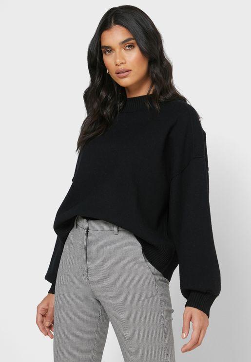 Drop Shoulder Balloon Sleeve Sweater