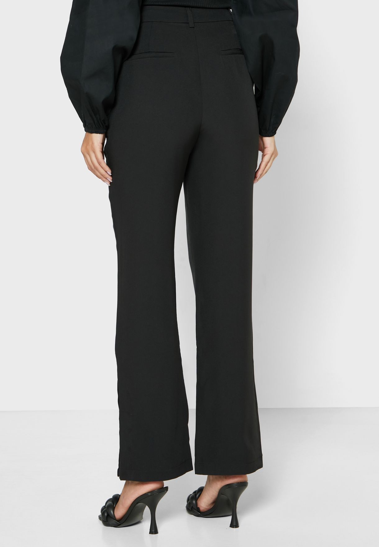 Side Popper Tailored Straight Pants