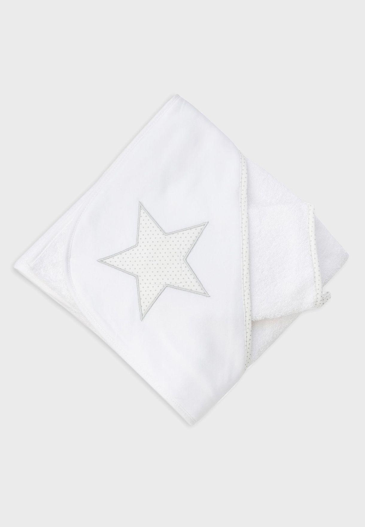 Infant Hooded Towel + Dots Gloves Set