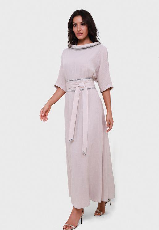 Tie Waist Contrast Detail Dress