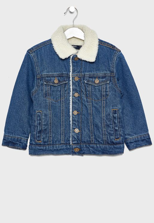 Kids Fur Detail Denim Jacket