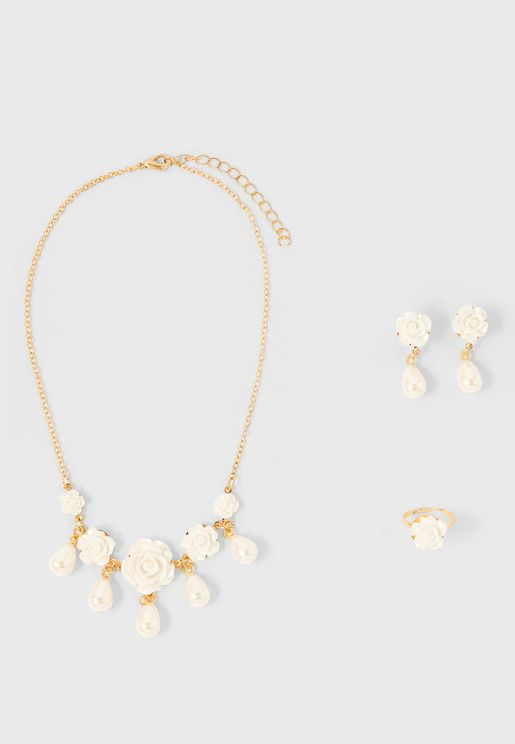 Kids Pearl Drop Necklace Earring & Ring Set