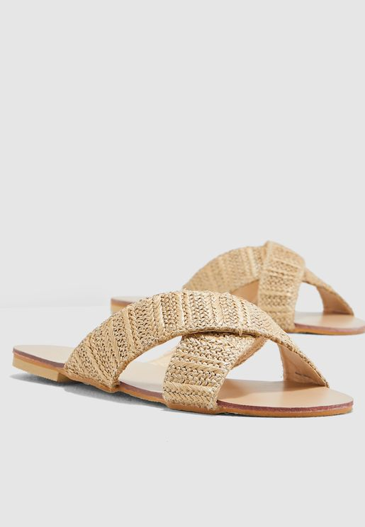 Cross Over Sandals In Natural Woven Fabric