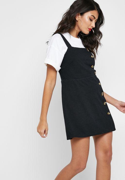 Button Down Pinafore Dress