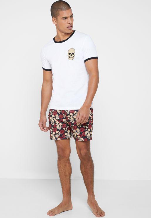Skull Rose Print Shorts Pyjama Set