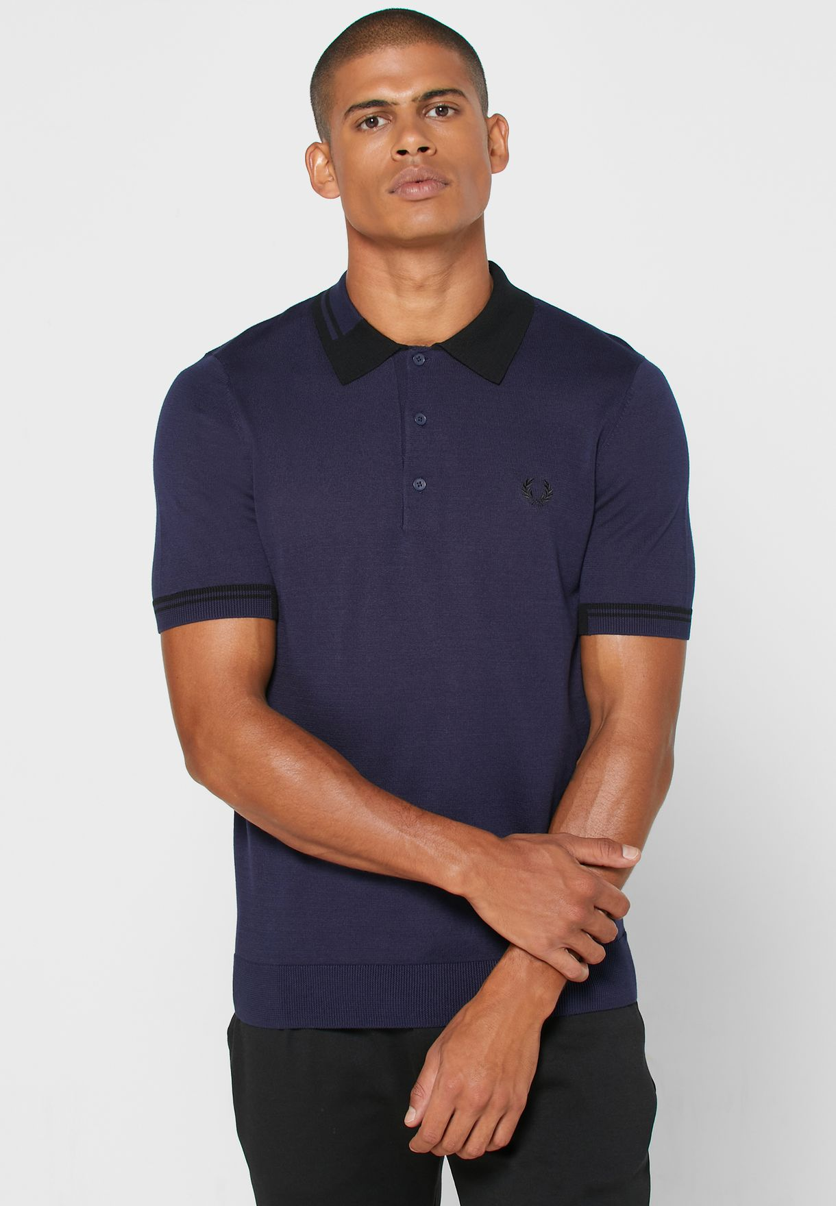 Abstract Tipped Knitted Polo