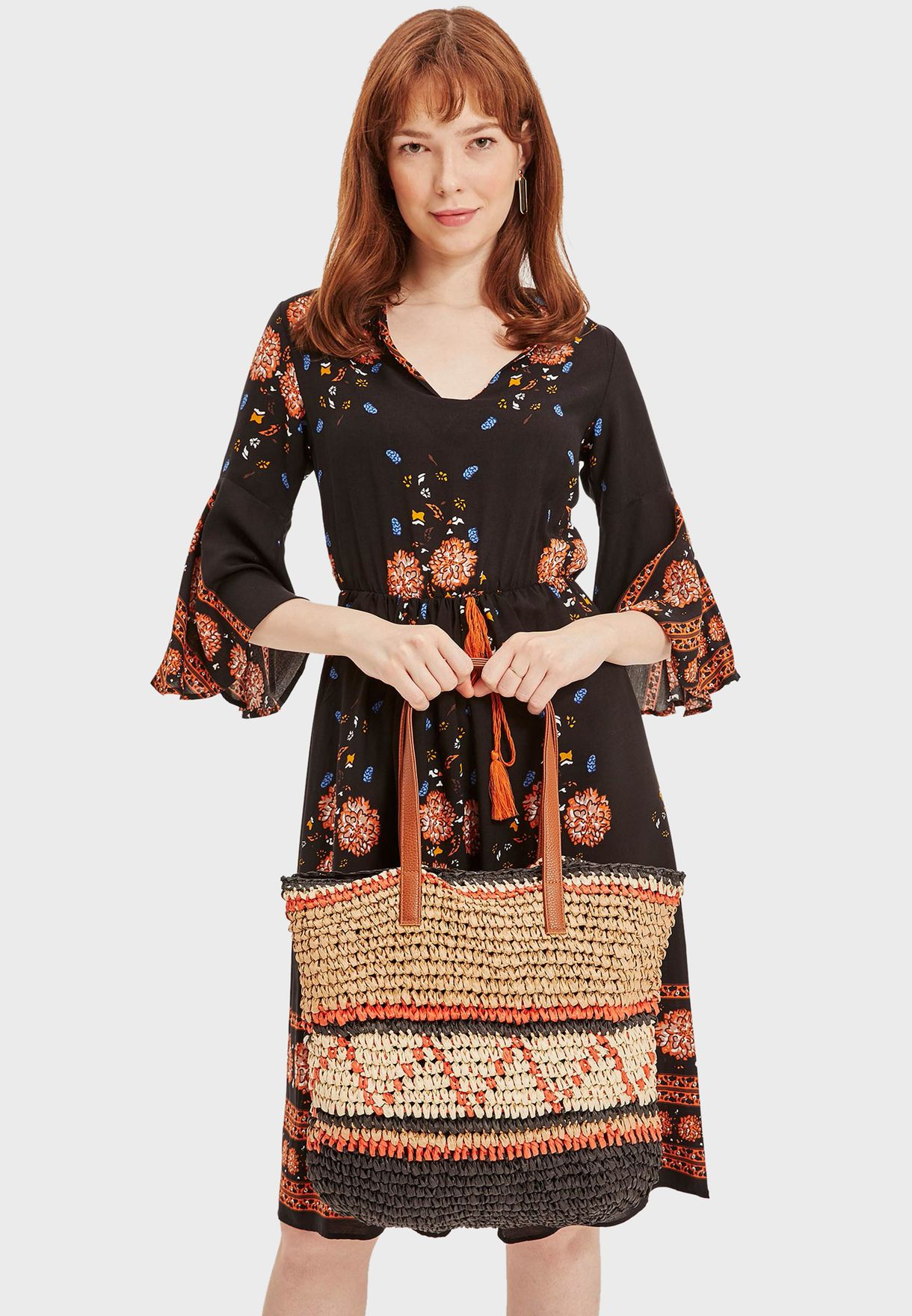 Defacto Mixed Patterned Straw Shopper