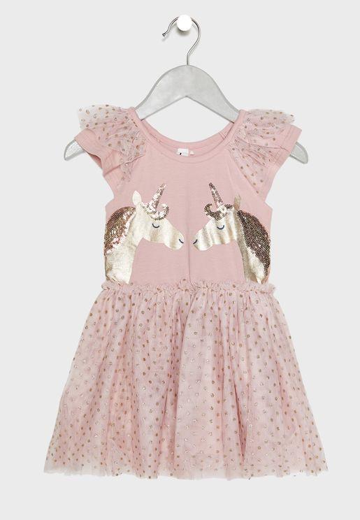 فستان مزين بالترتر بشكل وحيد القرن