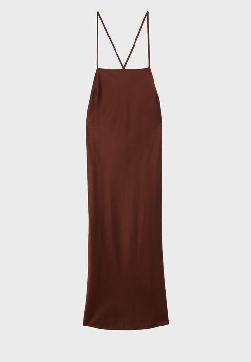 Lace Detail Sating Dress