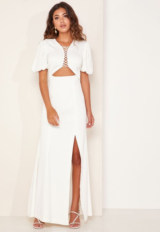 Talk This Over Lattice Detail Maxi Dress