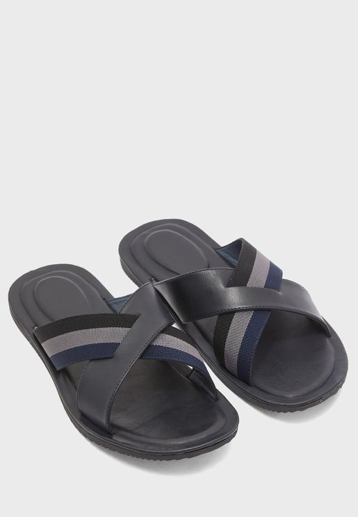 Webbing Detail Cross Strap Sandals