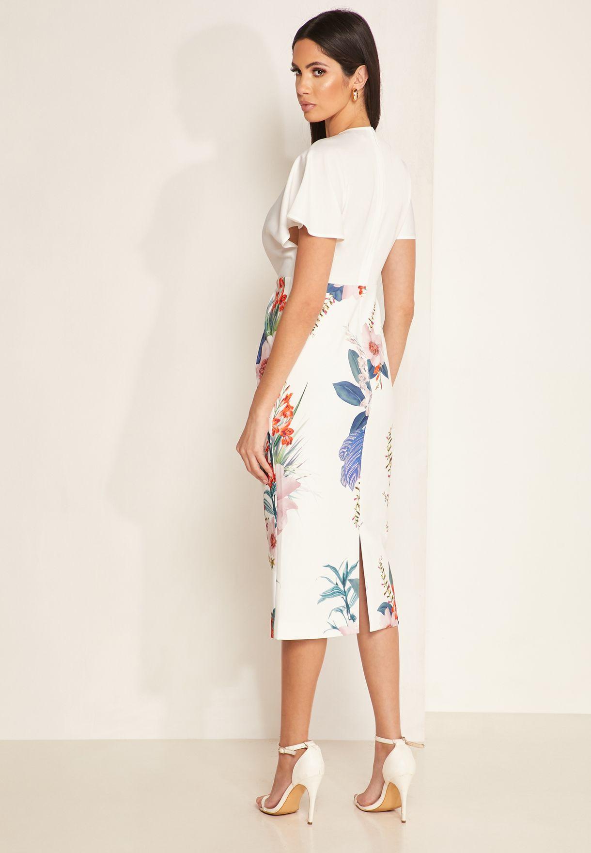 Nerris Flute Sleeve Floral Pencil Dress