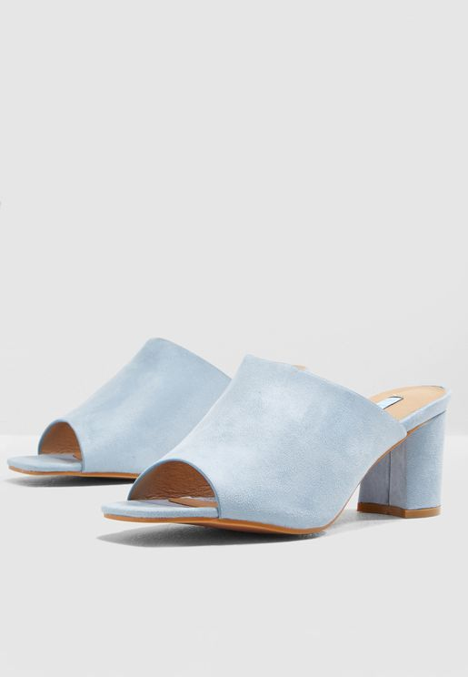 Block Heel Mule In Blue Faux Suede