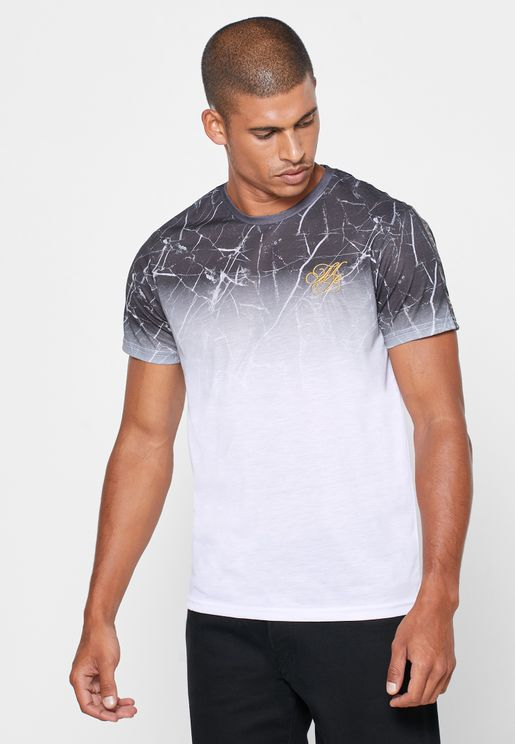 Marble Print Faded Crew Neck T-Shirt