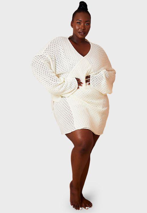 فستان محبوك بنمط لف