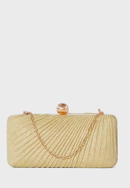 Pleated Sparkle Clutch Bag